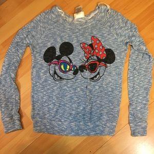 DISNEY PARKS Blue/Wht Blend Sweater Minnie Mickey